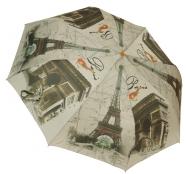 Женский складной зонт полуавтомат (принт Париж серый)