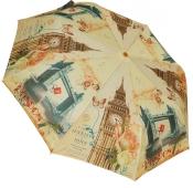 Женский складной зонт полуавтомат (принт Лондон беж)