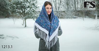 Белыйпавлопосадский шерстяной платок Регина, фото 3