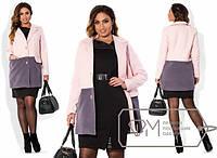 Стильное двухцветное кашемировое пальто Батал tez1515302