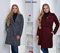 Женское пальто с поясом Батал tez6151225