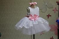"""Нарядное платье на девочку """"Мармеладка"""" белое с розовым поясом и бантом"""