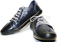 Спортивные туфли мужские Luciano Bellini 12504 B синие, шнурки, кожа., фото 1