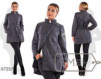 Буклированное пальто без подклада Батал tez7257