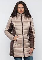 Куртка женская №15 длинная (бежевый/шоколад)