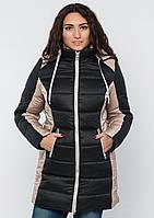 Куртка женская №15 длинная (чёрный/бежевый)