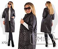 Пальто женское Батал из стеганной плащевки tez7260