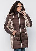 Куртка женская №15 длинная (шоколад/бежевый)