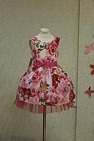 """Нарядное платье на девочку """"Цветочная радость малиновая"""""""