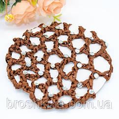 Плотная сеточка для гульки со стразами коричневая