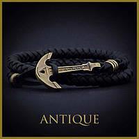 Шкіряний браслет з якорем Anchorstuff - Antique (Black Leather\Черный\Кожа)
