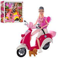 Кукла шарнирная на мотоцикле с собачкой и аксессуары