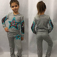 """Детский спортивный костюм для девочки """"STAR"""" с гипюром (3 цвета)"""