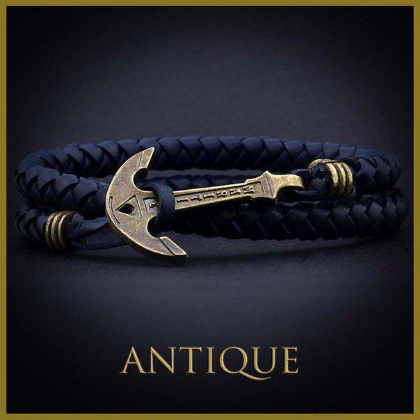 Шкіряний браслет з якорем Anchorstuff - Antique (Navy Leather\Синий\Кожа)