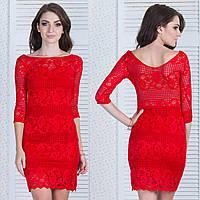 """Красное гипюровое платье в обтяжку """"Марлен"""", фото 1"""