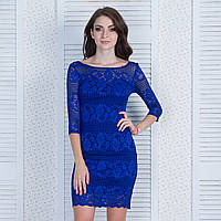 """Гипюровое коктейльное платье синего цвета """"Марлен"""""""