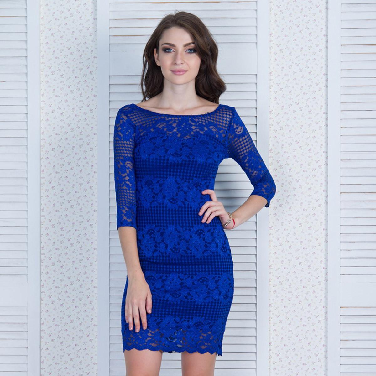 1a61f77a70d Гипюровое коктейльное платье синего цвета