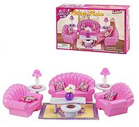 Мебель для куклы Gloria Гостиная 22004: диван + кресла + столики, фото 1