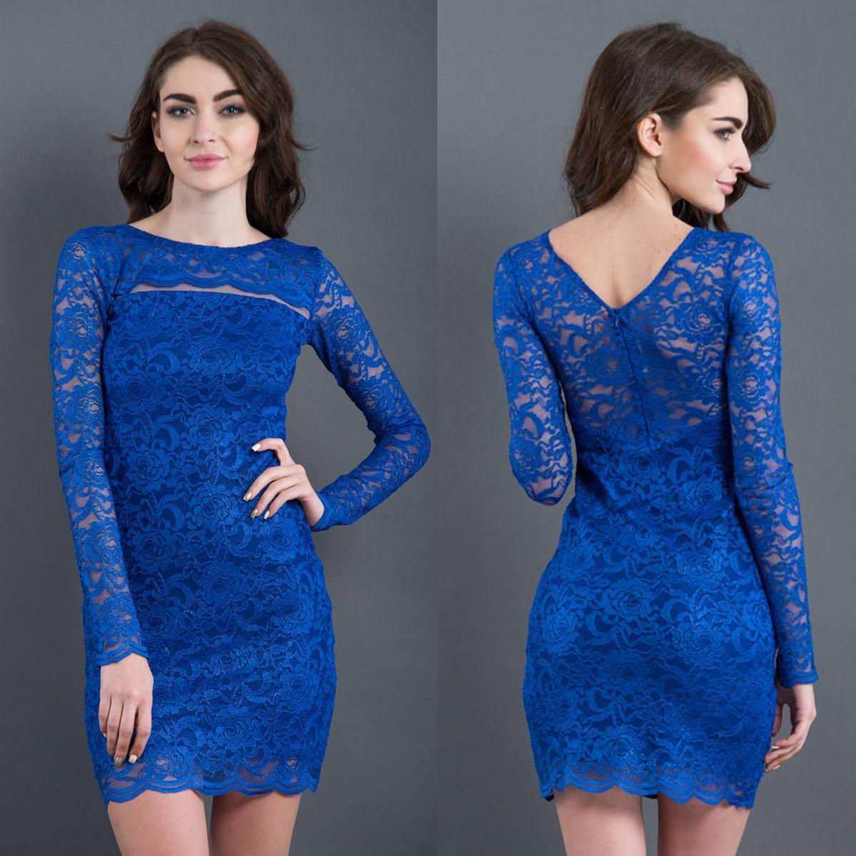 """Вечернее гипюровое платье облегающее синее """"Сюзана"""""""