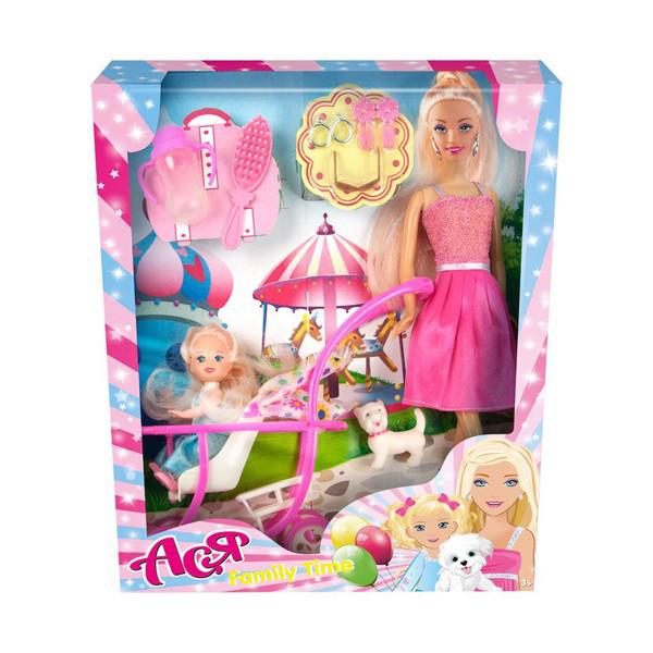 Набор с куклой Асей Семейный досуг Блондинка с аксессуарами 28 см и маленькая кукла 11 см