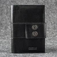 Кожаный кошелек на застежке 116 черный