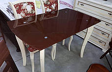 Стеклянный стол на кухню на деревянных ножках ДКС Классик Антоник, цвет на выбор, фото 3