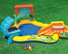 Детский надувной центр Динозавры с горкой для спуска, фонтаном и шариками Intex 57444, фото 2