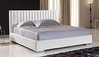 Итальянская современная кровать в коже с прошитой спинкой WAVE фабрика MAX DIVANI