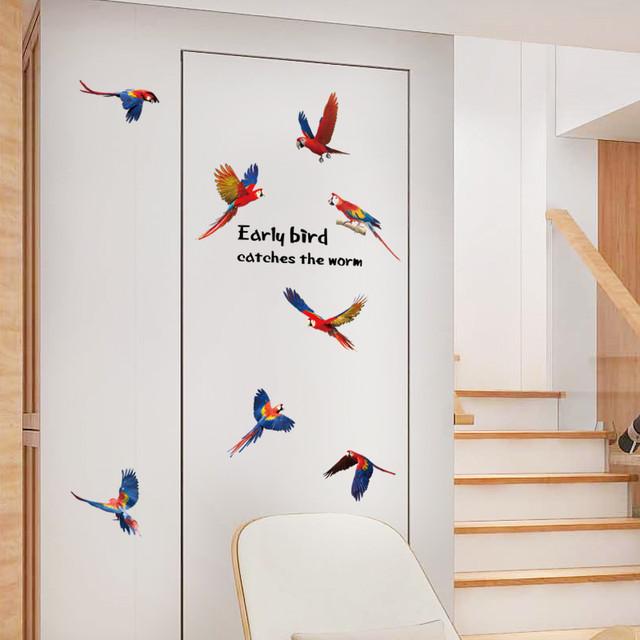 Наклейка на стену интерьерная Попугаи