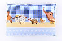 """Детская подушка 60*40 для новорожденных голубого цвета """"Слоник и черепаха"""""""