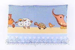 """Дитяча подушка 60*40 для новонароджених блакитного кольору """"Слоник і черепаха"""""""