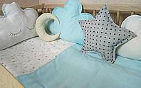 Постельное в кроватку новорожденного из 6 ед.(без кармана и балдахина). Бортики фигурные