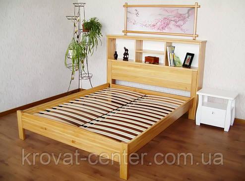 """Кровать с полками в изголовье """"Комби"""". Массив - сосна, ольха, береза, дуб., фото 2"""