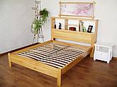 """Полуторная кровать с полками в изголовье из массива дерева """"Комби"""""""