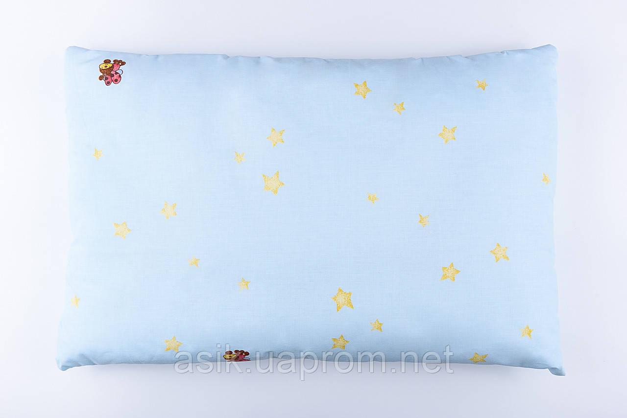 """Подушка детская 60*40 для новорожденных """"Звёзды и букашки"""", цвет голубой"""