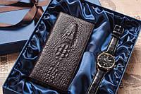 Подарочный комплект портмоне и часы для настоящего мужчины, подарочный набор, оригинальный подарок, для мужа