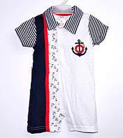 Детский комбинезон для мальчика КБ-50 /р.80/, якорь в полоску, на кнопках, с вышивкой