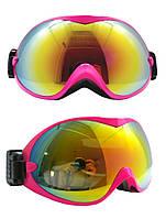 Маска горнолыжная/лыжные очки Nice Face 077: розовый цвет