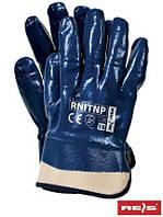 Защитные перчатки, покрытые нитрилом и законченные фиксированной манжетой RNITNP G - 10