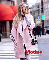 Модное пальто-кимоно из буклированной шерсти в нежных весенних цветах