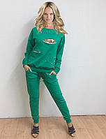 Женский спортивный костюм со вставками из пайеток и бусинами, фото 1