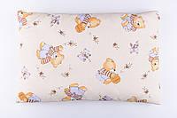 """Детская подушка 60*40 для новорожденных """"Мишки с мёдом"""", цвет бежевый"""