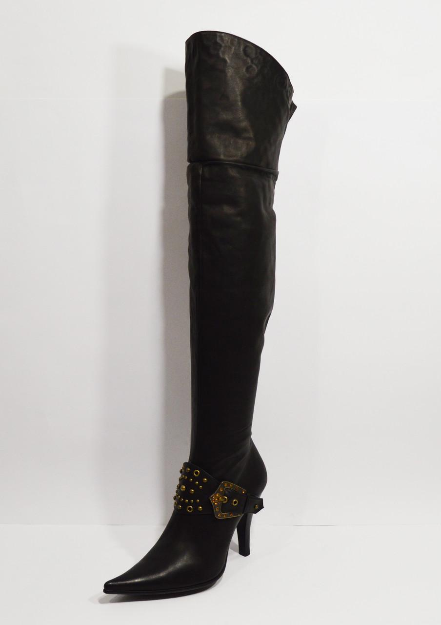Ботфорты на каблуке кожаные Fabbiani