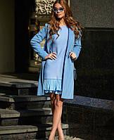 Женское стильное кашемировое пальто на шелковой подкладке, фото 1