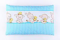 """Подушка детская 60*40 для новорожденных """"Зайчик с уточкой"""", цвет голубой"""