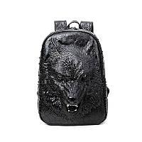 Черный объемный рюкзак Волк