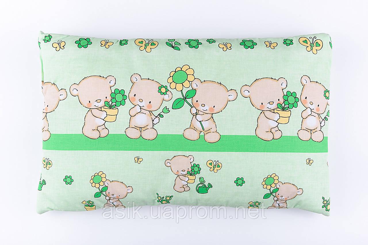 """Подушка детская 60*40 для новорожденных """"Мишки с цветочком"""", цвет салатовый"""