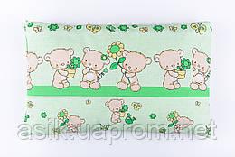 """Подушка дитяча 60*40 для новонароджених """"Ведмедики з квіточкою"""", колір салатовий"""