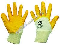 """Перчатки хб с покрытием из нитрила, """"интертулл"""", р. 10, желтые"""