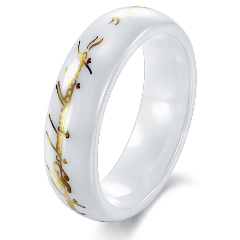 """Мужское кольцо """"Всевластие"""" из белой керамики, фото 1"""